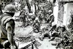 Marines of Delta 1/5 caring for their wounded at HUE, 1968. ~ Vietnam War
