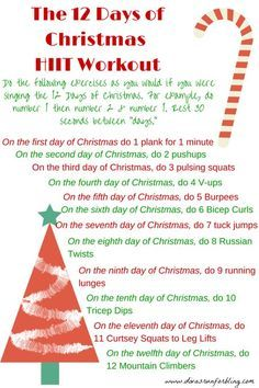 Workout The Christmas season is here and it can sometimes be hard to find time to exercise. Try this 12 Days of Christmas HIIT Workout to get fit this season. Fitness Workouts, Fun Workouts, At Home Workouts, Fitness Tips, Health Fitness, Movie Workouts, Fitness Fun, Body Workouts, Body Fitness