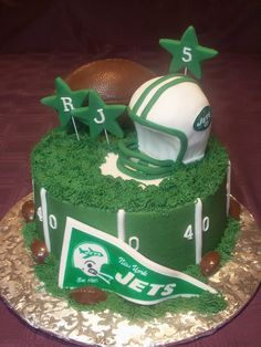 images of nfl football birthday cakes | birthday cake for a little jets fan helmet is made of cake football ...