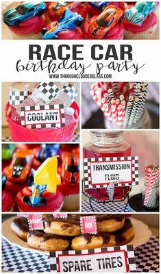 Through Clouded Glass: Race Car Birthday Party! Hot Wheels Birthday, Race Car Birthday, Monster Truck Birthday, Birthday Fun, Birthday Ideas, Biker Birthday, Monster Trucks, Nascar Party, Race Car Party