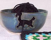 Cat Yarn Bowl Blue green    MADE TO ORDER  Handmade Ceramic Stoneware