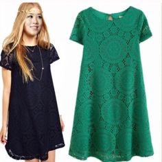 Black boho lace dress short mini crochet summer Short black crochet/lace dress with lining. Ships immediately Dresses