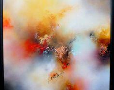 Große Leinwand Mixed Media abstrakte von SimonkennysPaintings