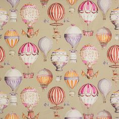 A stunning Manuel Canovas Paris fabric - LEnvol Tomate Contents: 100% Cotton Repeat: V 39.76 Width: 57.9 Please note that theres a minimum order of 3 yards This design is available in 3 colorways and also as a wallpaper Suitable for window treatments, pillows and upholstery Standard