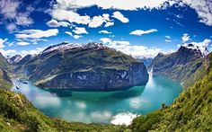 Lataa kuva Norja, kesällä, vuoret, fjord, kaunis maisema