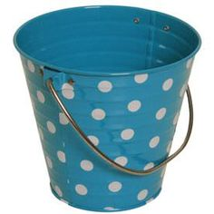 Look what I found at JAM Paper and Envelope:  - http://www.jampaper.com/Boxes/ColorfulMetalPailBuckets/PailBuckets-BySize/