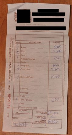 Fiscal receipt from an Italian restaurant and tips on eating in Italy