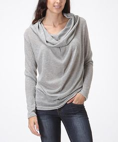 This Heather Gray Cowl Neck Sweater is perfect! #zulilyfinds