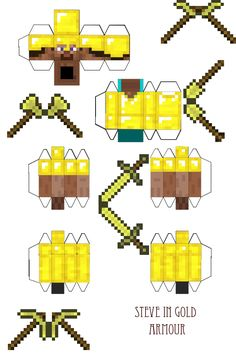Papercraft Steve in Gold Armour (With Tools)