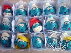 Smurfs cake balls -- I love these! I want to make them for Coles pre school class :)