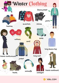 Winter clothing are clothes used for protection against the particularly cold weather of winter . accessories vocabulary Learn Winter Clothing Vocabulary through Pictures - ESLBuzz Learning English English Tips, English Study, English Class, English Lessons, English Book, Grammar And Vocabulary, English Vocabulary, English Grammar, Vocabulary List