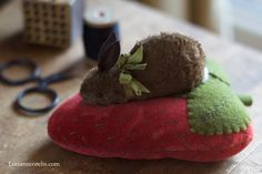 The Spotted Hare: Sweet bunny strawberry pincushion.