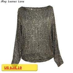 MAY LEAVES LOVE Slash Neck Batwing Sleeve Perspective Sequins Pullover Women Sweater Female Knitwear