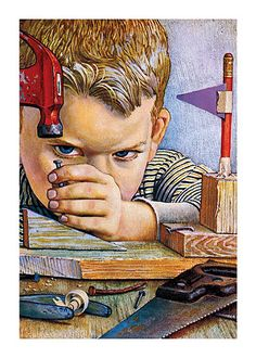 Boy Hammering A Nail (Encouragement Greeting Cards)