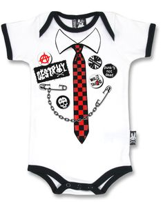 Six Bunnies Punk Tie Baby Onesie Romper Alternative Skull Cute Goth Shower Gift #SixBunnies #PunkRockabillyTattoo