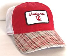 c1515a8bd0e NEW men women INDIANA HOOSIERS HAT Red amp White Plaid Checkered IU  Unstructured Dad