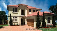 """The """"Melito"""" home plan is a Mediterranean styled courtyard home plan l Sater Design Collection l Luxury House Plans"""