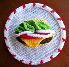 Knitted Hamburger Wall Art #knit