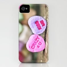 Candy Hearts iPhone cover, fits all iPhone 4 and 4S. Impact resistant flexible plastic case.