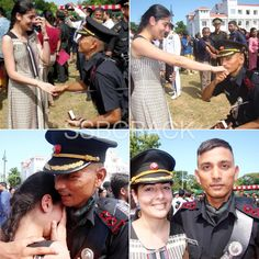 Indian Army Officer Proposing His Girlfriend Indian Army Special Forces, Indian Army Quotes, Indian Army Wallpapers, Military Homecoming, Force India, Indian Navy, Indian Air Force, Army Women, Military Love