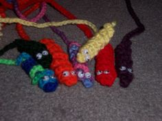 crocheted squiggley bookmarkers