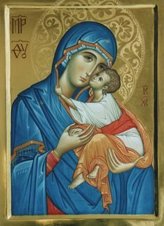 Theotokos the God Bearer and the Christ Child Mother Of Christ, Blessed Mother Mary, Religious Icons, Religious Art, Greek Icons, Icon 5, I Love You Mother, Holy Mary, Art Thou