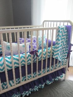 This is the one!!!! If it's a girl of course ahhh I'm in love!!!!Brimlee Candy Purple and True Turquoise Custom Baby bedding Set. $385.00, via Etsy.