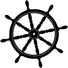 Ship wheel Silhouette | Ships wheel silhouette vinyl sticker. Customize on line. Boats ...