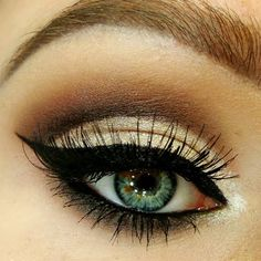Smokey brown eye makeup is paired with a defined black liner to complete this formal makeup. See the essentials needed to recreate this for your next party.