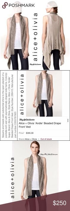Alice and Olivia beaded drape cardigan sweater Stunning 'Andie' sleeveless open cardigan sweater from Alice and Olivia. Soft taupe/tan color w/ gorgeous bronze beadwork all along the asymmetrical shawl collar. 100% cotton so this is seasonless! Pair it over a top, blouse or dress for beautiful look. EUC, smoke free home. Retailed at $395! You will not find this beauty anywhere!! Please read my bio regarding closet policies prior to any inquiry/offers. Bundle to maximum your 5 lb shipping…