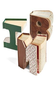 Second Nature By Hand 'One of a Kind Letter' Hand Carved Recycled Book Shelf Art (Small) available at #Nordstrom