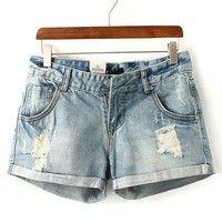 Vintage Women's Clothing Wholesale Pumice Washed Denim Shorts [285]