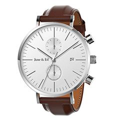 June & Ed Men's Wrist Watch Leather Band Casual Classic Quartz Watch with Sapphire Crystal Dial Window and Date / Chronograph / Waterproof Function (affiliate)