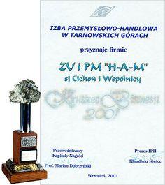 RUSZEC BIZNESU 2001 Kapituła nominowała w konkursie na najbardziej prężnie działający i najbardziej nowoczesny zakład naszego regionu