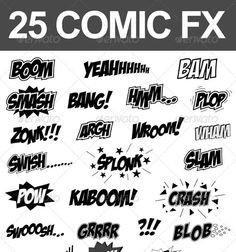 25 Comic Sound Effects Including file formats: .eps (Vector) .ai (Vector) .jpeg (6500x7600 Pixel, 300dpi) Download