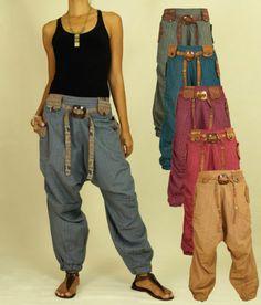 Haremshose Hippie GOA Harem Pants Boho Aladin Pluder Ethno Wanderlust Variations | eBay Boho Fashion, Fashion Outfits, Womens Fashion, Harems, Gypsy Chic, Drop Crotch, Boho Diy, Lookbook, Couture