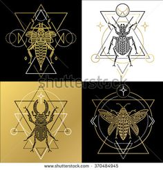 Insect spiritual geometric symbol set. Tattoo pictures. Vector illustration.