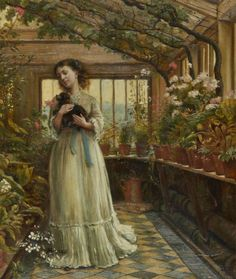 George Goodwin Kilburne . (British 1839-1924)Dora laughing held the dog up childishly to smell the flowers