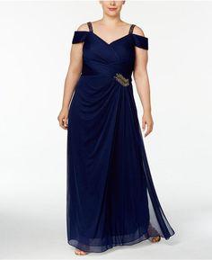 f32d45f9c45 Alex Evenings Plus Size Embellished Cold-Shoulder Gown   Reviews - Dresses  - Women - Macy s