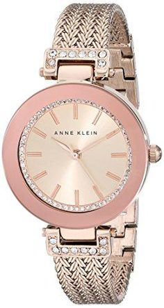 c864296931f Anne Klein Women s Swarovski Crystal Accented Rose Gold-Tone Mesh Bracelet  Watch