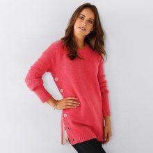 Blancheporte Pulovr s kulatým výstřihem a knoflíkovou patkou růžová 34/36 - Givo.cz Lingerie, Pullover, Sweaters, Outfits, Fashion, Moda, Suits, Fashion Styles, Sweater