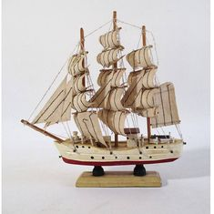 Model Ship Vintage Full Rigged Three Masted Barque Square