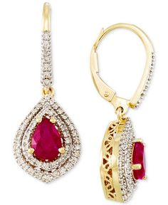 RARE Featuring GEMFIELDS Certified Ruby (1-3/10 ct. t.w.) and Diamond (3/8 ct. t.w.) Drop Earrings in 14k Gold