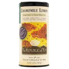 Chamomile Lemon Herbal Tea | Surrender to Sleep Herb Tea - Chamomile is blended with Lemon balm, linden flowers, orange blossoms, lavender flower, skullcap, passion flower, lemon juice and valerian root to produce a fragrant & soothing cup. These potent botanicals surrender a sweet & tranquil tea - delighting palate, mind & body.