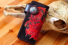 Red fish Handmade Personalized Men's Leather by LoveLeatherArt