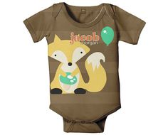 Fox Onesie Personalized New Baby Boy Outfit by SimplySublimeBaby, $24.95