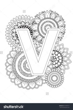 Doodle Floral Letters. Coloring Book For Adult. Mandala and Sunflower. ABC. Isolated Vector Elements. Capital Letter English Alphabet