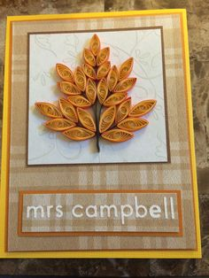 Quilled leaf Thanksgiving card