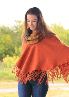 Poncho coat, Burn Orange fringes, wool wrap poncho #cape #warm #sweater #merino