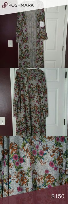 Lularoe Sarah UNICORN FLORAL PRINT!  Size large Gorgeous gray with floral.  Hard to find!  Rare!  Size large new with tags.  Soft and stretchy. LuLaRoe Sweaters Cardigans